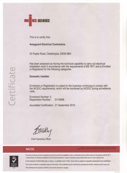NICEIC Domestic Installer Certificate